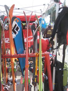 09/10 BD Skis. Megawatt in blue on the left. Profile shot of Justice (red) and Zealot (green)