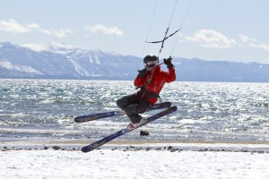 Lake Tahoe Beach Snowkiting 1