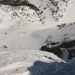 Blind rollover entrance to the couloir