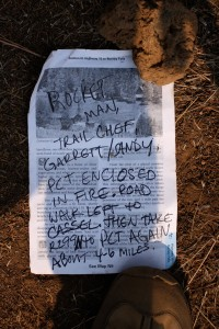 A note from fellow hikers on the trail