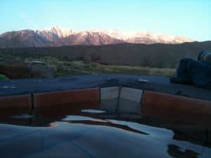 View from our hot tub to the White Mountains