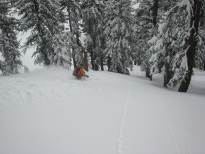 Skiing more powder on the way down