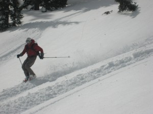 Luca making some turns in the pow