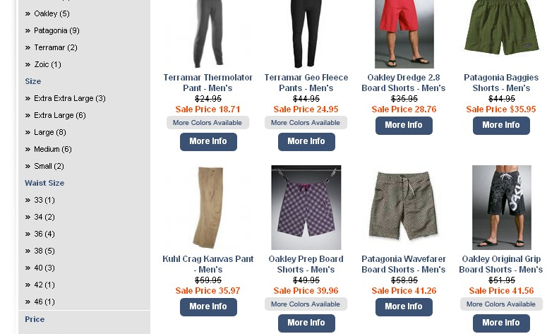screen capture of Men's Pants category page