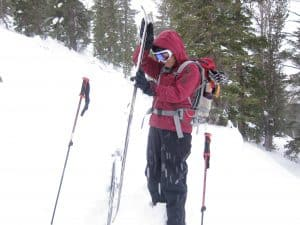Pam switching over for the ski down
