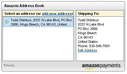 Amazon Address Book