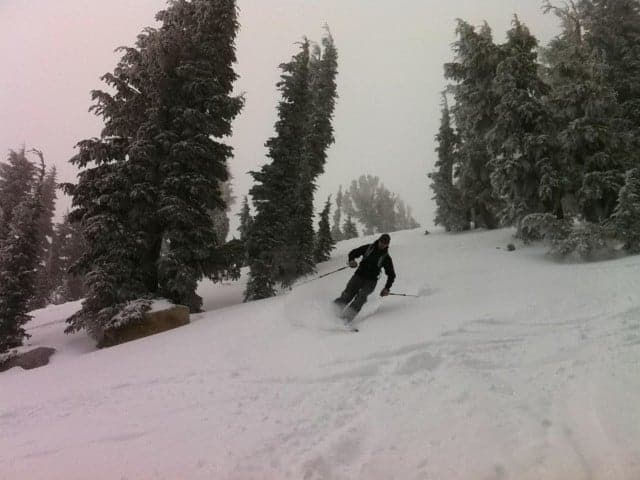 Jesse from Folsom Skis ripping up some pow