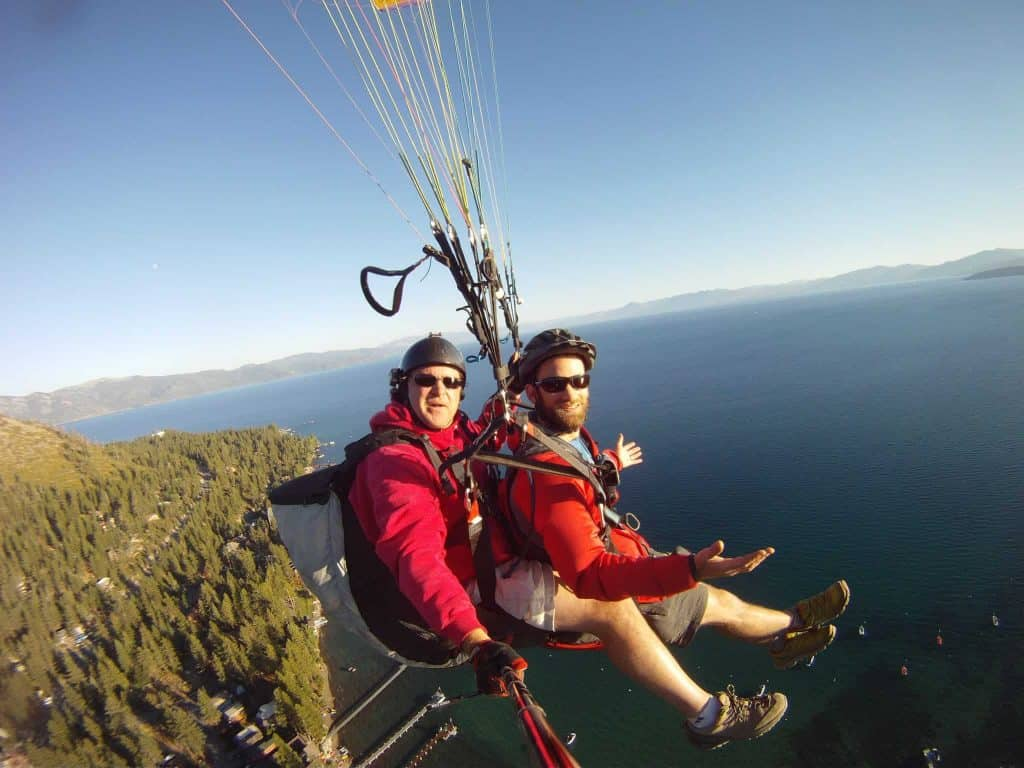 Paragliding over Lake Tahoe