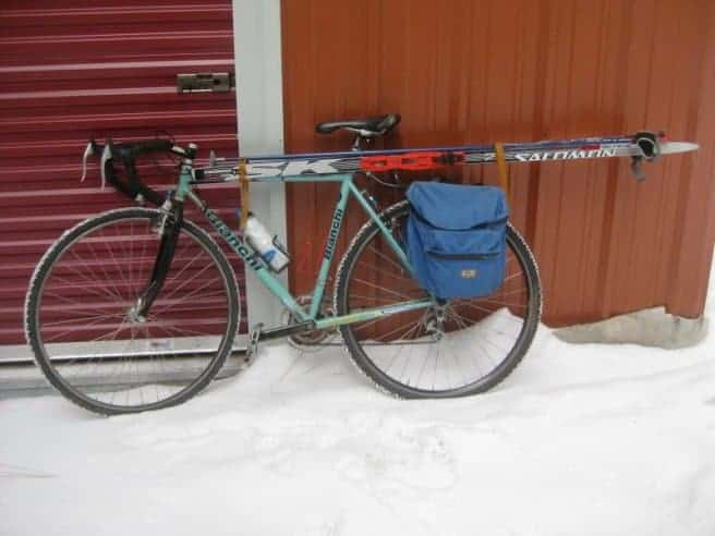 biking with ski rack