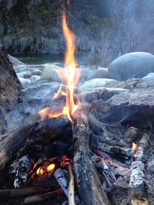 campfire on the yuba river
