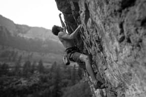 rock climbing black and white