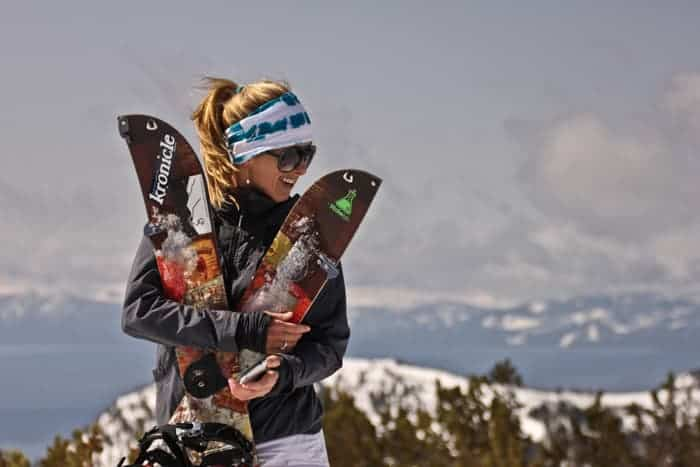 woman splitboarding