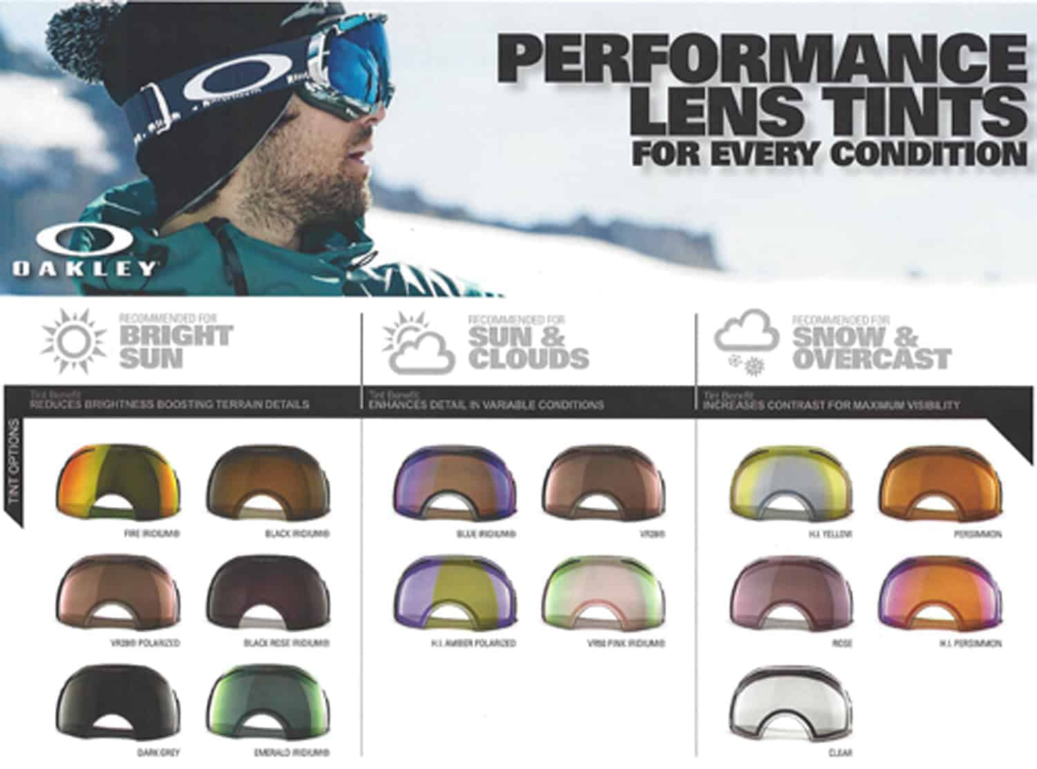 oakley snow goggle lenses  Types Of Oakley Goggle Lens Tints \u0026 Goggle Size Fitting Guide ...