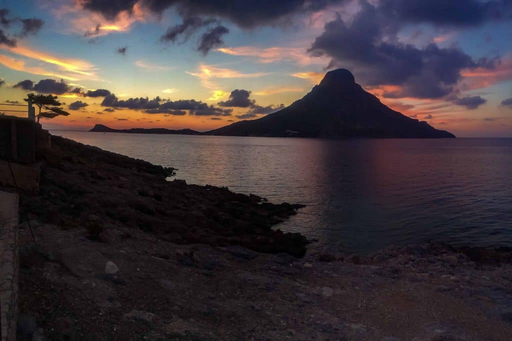 Sunset view of Telendos. This island got separated from the island of Kalymnos following an earthquake hundreds of years ago.