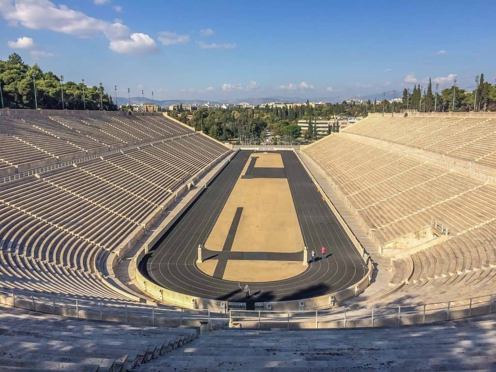 The original Olympic Stadium for the 1896 Olympics in Athens. The seats are all marble and the adjacent museum is filled with Olympic torches.