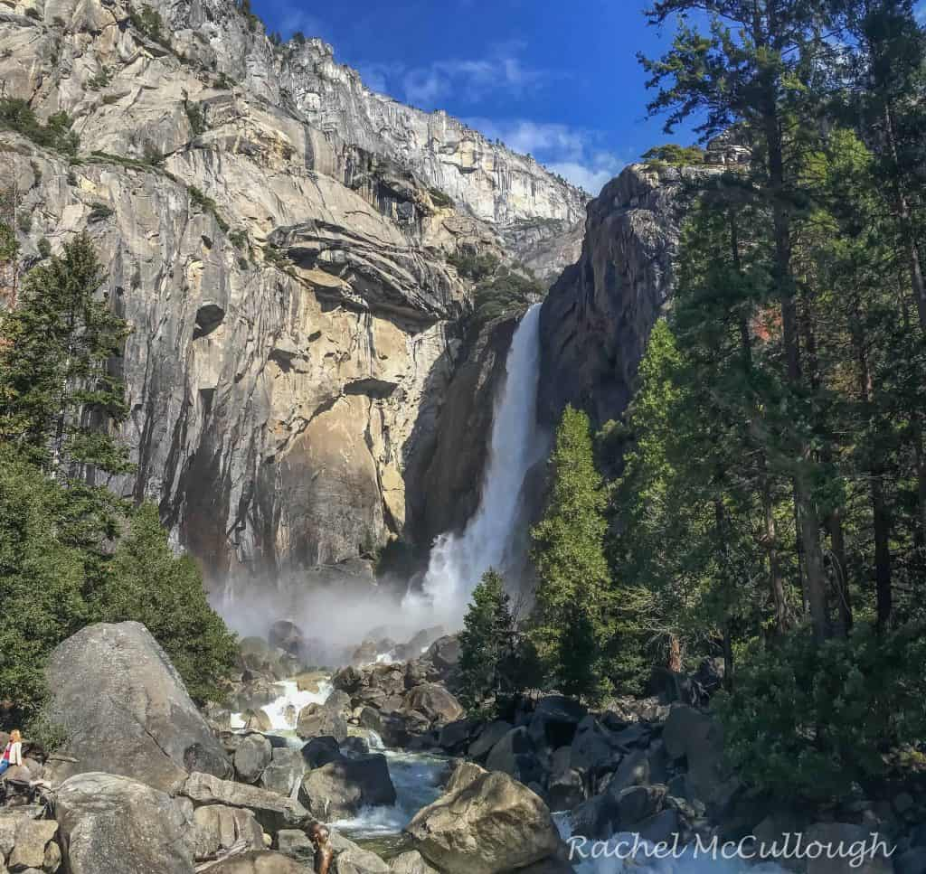 There's the blue sky I am used to! Lower Yosemite Falls