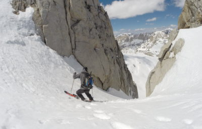 Staring down the walls of the North Couloir on North Peak