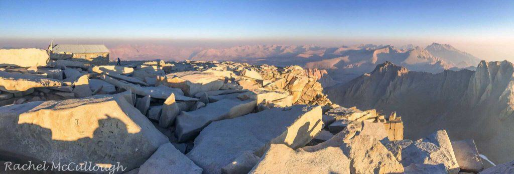The warm glow of early morning light on the summit of Mt. Whitney.