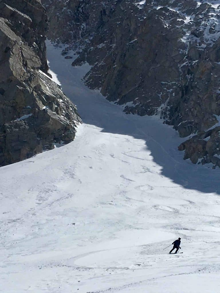 Skiing out the North Couloir of Mt. Emerson