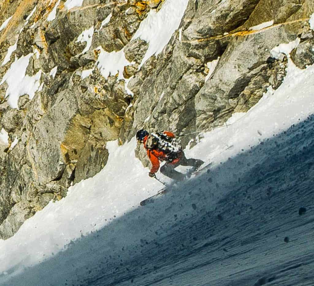 Skiing the North Couloir of Mt. Emerson