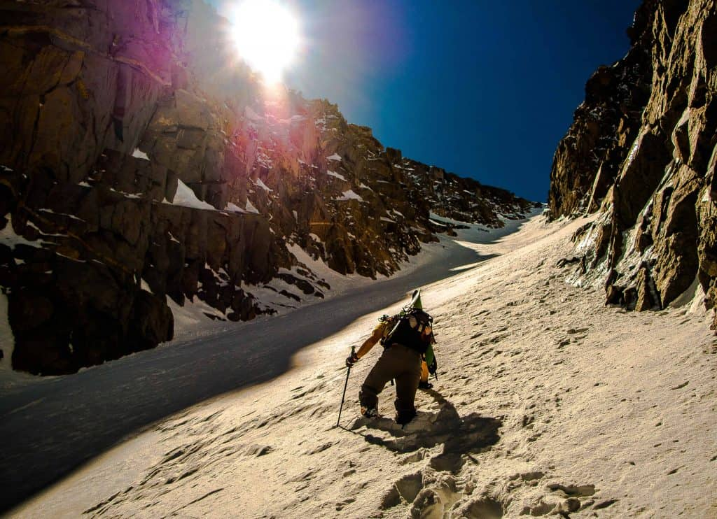 Booting it up the North Couloir of Mt. Emerson
