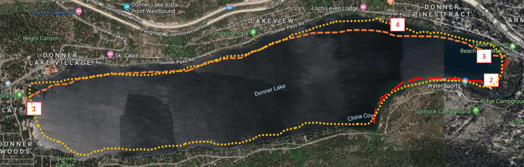 Donner Lake swim route options