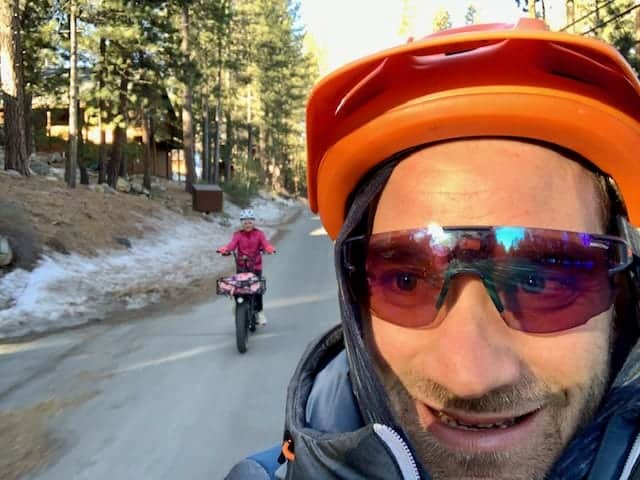 Dave Polivy and his daughter bike commuting on the Rad Wagon and Rad Rover.