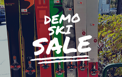 "Backcountry Skis with ""Demo Ski Sale"" overlaid"