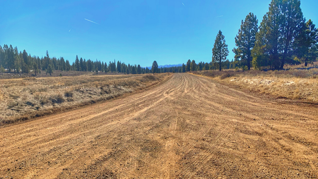 Wide view of Prosser Dam Road, completely snow free