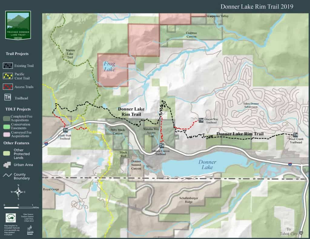 Map of Donner Lake Rim Trail