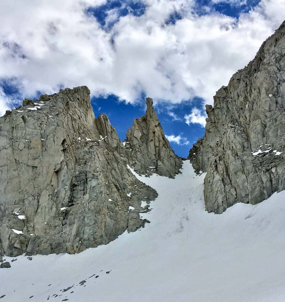 The Petit Griffon, granite walls surrounded by snow in California's Eastern Sierra